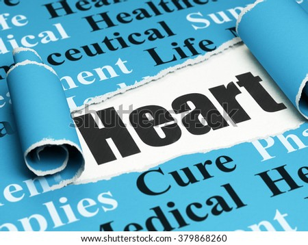 Medicine concept: black text Heart under the piece of  torn paper - stock photo