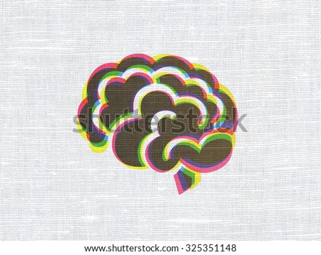 Medicine concept: CMYK Brain on linen fabric texture background