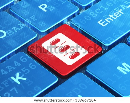 Medicine concept: computer keyboard with Pills Blister icon on enter button background, 3d render - stock photo