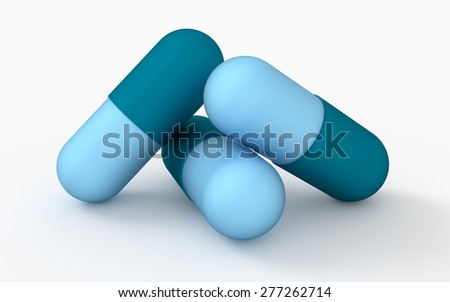 Medicine concept. Illustration of three capsule pills  - stock photo