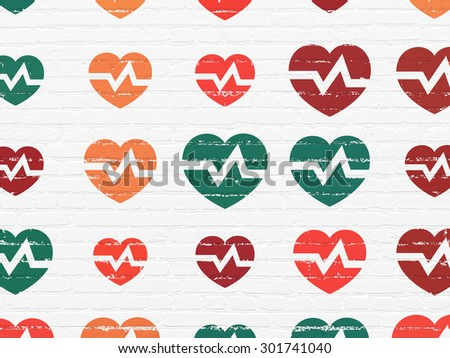 Medicine concept: Painted multicolor Heart icons on White Brick wall background, 3d render - stock photo