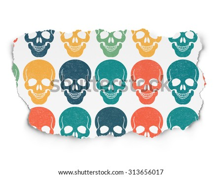 Medicine concept: Painted multicolor Scull icons on Torn Paper background