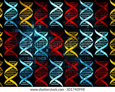 Medicine concept: Pixelated multicolor DNA icons on Digital background, 3d render