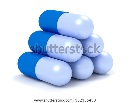Medicine concepts. Illustration of capsule pills isolated on white - stock photo