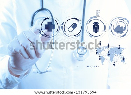 Medicine doctor hand working with modern computer interface as medical concept