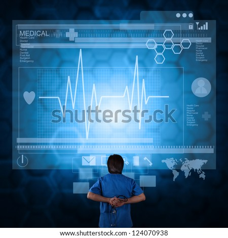 Medicine doctor working with modern computer as medical concept - stock photo
