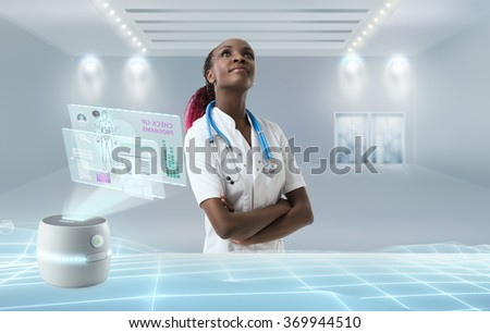 Medicine doctor working with modern medical interface in hospital of future