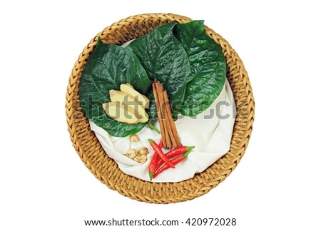 Medicine food, Cooking ingredients, Herbs and spice, ginger, cinnamon, cardamom, chlli, betel leaf. Isolated on white background. - stock photo