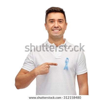 medicine, health care, gesture and people concept - smiling middle aged latin man in t-shirt with blue prostate cancer awareness ribbon pointing finger on himself - stock photo