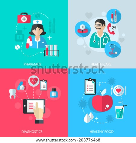 Medicine healthcare services concept flat icons set of medical technology pharmacy diagnostics and healthy nutrition food for infographics design web elements  illustration