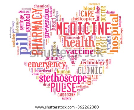 Medicine heart with heart beat line, word cloud concept on white background. - stock photo
