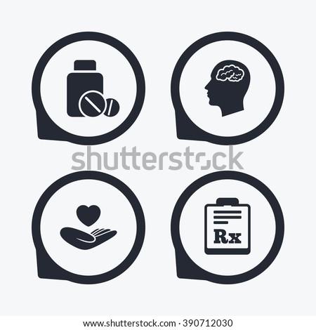 Medicine Icons Medical Tablets Bottle Head Stock Illustration