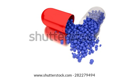 Medicine in open red capsule. Conceptual image for health or addiction concepts - stock photo