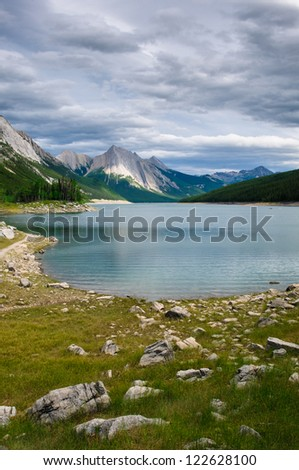 Medicine Lake, Jasper National Park, Alberta, Canada - stock photo
