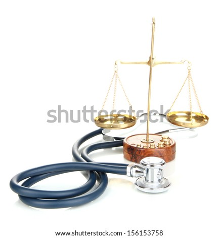 Medicine law concept. Gavel, scales and stethoscope isolated on white  - stock photo