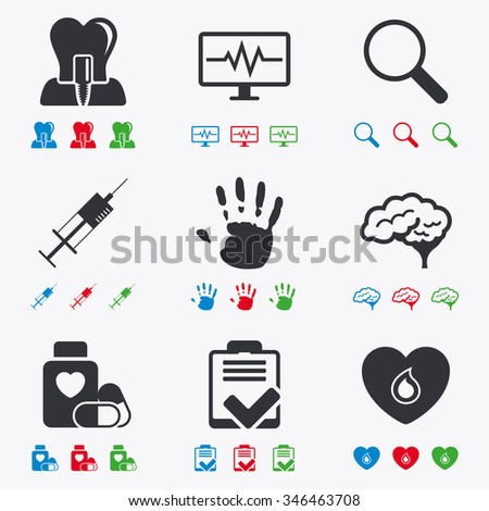 Medicine, medical health and diagnosis icons. Blood, syringe injection and neurology signs. Tooth implant, magnifier symbols. Flat black, red, blue and green icons. - stock photo