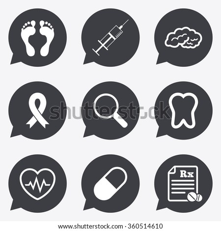 Medicine, medical health and diagnosis icons. Syringe injection, heartbeat and pills signs. Tooth, neurology symbols. Flat icons in speech bubble pointers. - stock photo