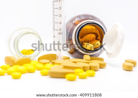 Medicine, medical syringe and on white background isolated.