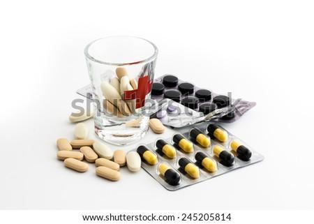 Medicine on white background - stock photo