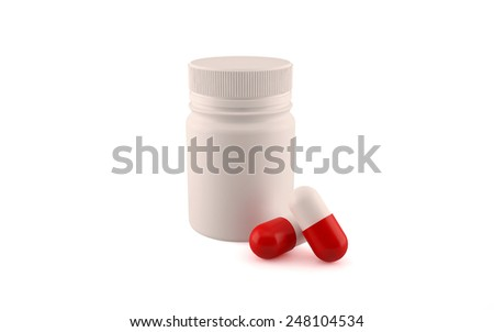 Medicine pill bottle with two pills. Isolated render on a white background - stock photo