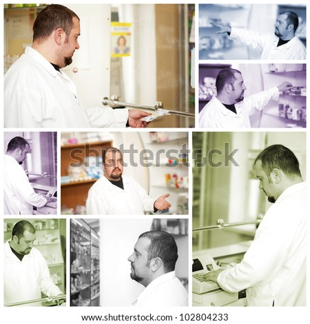 Medicine. Portrait of a male pharmacist at pharmacy