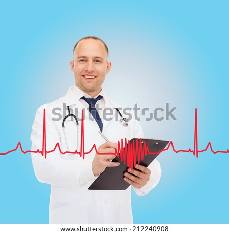 medicine, profession, cardiology and healthcare concept - smiling male doctor with clipboard and stethoscope writing prescription over cardiogram background