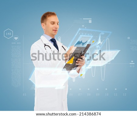 medicine, profession, future technology and healthcare concept - smiling male doctor with clipboard and stethoscope writing prescription over blue background - stock photo