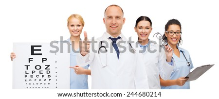 medicine, profession, teamwork and healthcare concept - international group of smiling medics or doctors with eye chart, clipboard and stethoscopes over white background - stock photo