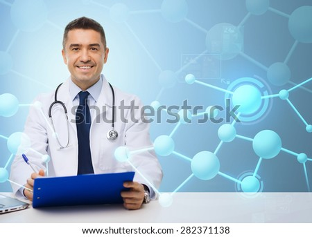 medicine, profession, technology and people concept - happy male doctor with clipboard and stethoscope over blue molecular structure background - stock photo