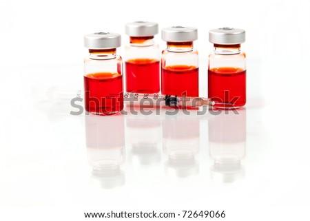 Medicine vials, isolated on white background - stock photo