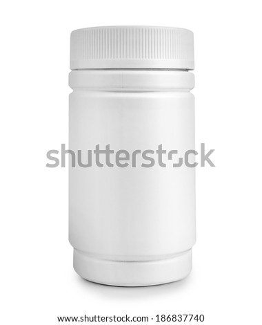 medicine white pill bottle isolated on a white background - stock photo