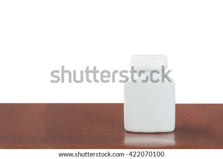 Medicine white pill bottle isolated on a white background, Clipping path - stock photo