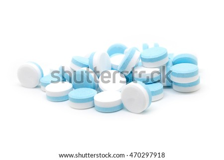 Medicines to relieve headaches on the white  background isolated.