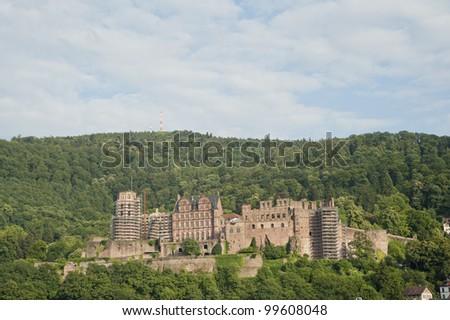 medieval age castle of Heidelberg city. - stock photo