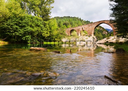 Medieval arched bridge over llobregat river in the pyrenees catalonia