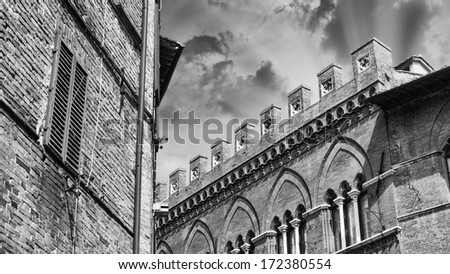 Medieval architecture and buildings - Tuscany, Italy. - stock photo