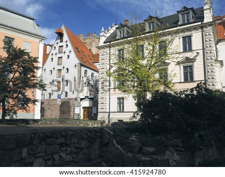 medieval architecture buildings in capital Riga, Latvia, Europe - stock photo