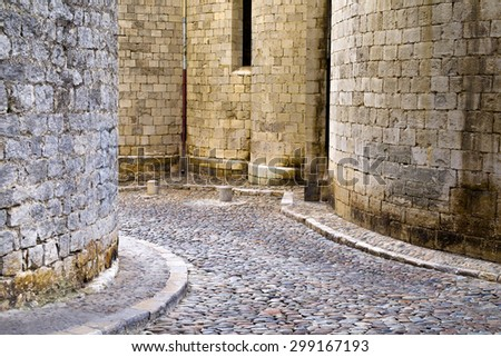 Medieval architecture detail in Girona, Catalonia, Spain