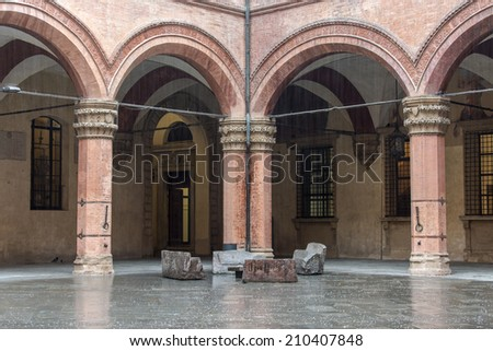 Medieval architecture in the historic center of Bologna, Italy - stock photo