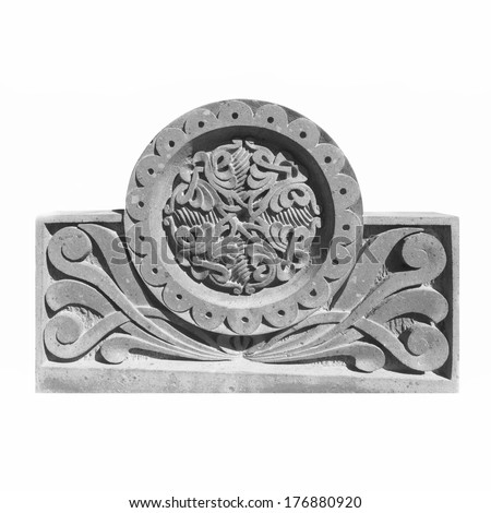Medieval Armenian ornament on cross stone isolated on white - stock photo