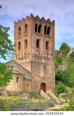 Medieval belfry above the old church of St Martin du Canigou monastery, Pyrenees-Orientales department, France
