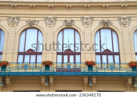 Medieval building facade on the streets of Prague Old Town, Czech Republic - stock photo