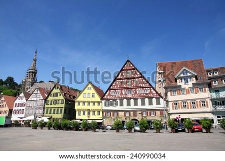 Medieval buildings in Market Square - Marktplatz, Rathaus in Esslingen am Neckar, Baden Wurttemberg, Germany - stock photo