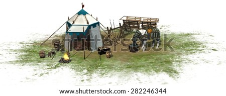 Medieval camp with tents and horse isolated on white background - stock photo