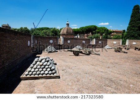 Medieval cannons in the tower of Castel Sant'Angelo, Rome, Italy  - stock photo
