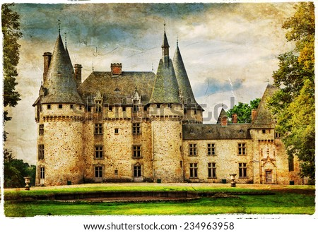 medieval castle , France , artistic picture - stock photo