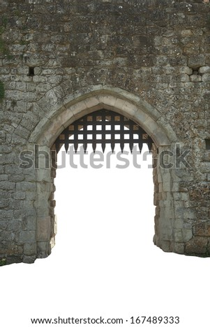 Medieval castle gate, white background