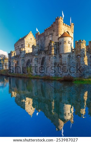 Medieval castle Gravensteen, Castle of the Counts, in Gent, Belgium