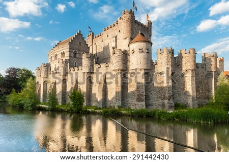 Medieval castle Gravensteen (Castle of the Counts) in Ghent, Belgium. - stock photo