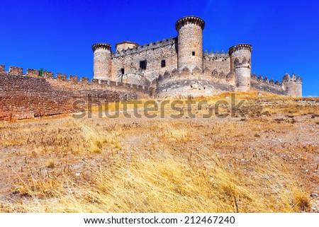 medieval castle in Belmonte. Cuenca, Spain - stock photo